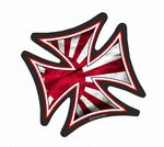 IRON CROSS With JDM Style Rising Sun Flag Motif External Vinyl Car Sticker 95x95mm